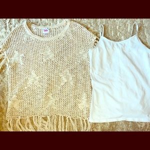Tan mesh shirt with stars and white tank top
